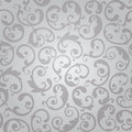 Seamless silver swirls floral wallpaper pattern Royalty Free Stock Photo