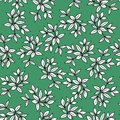 seamless simple pattern black and white leaves on green background, foliage vector illustration