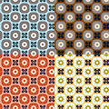 Seamless simple retro geometrical pattern of class set four color variations Royalty Free Stock Image