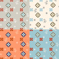 Seamless simple retro geometrical pattern of classic style set four color variations Royalty Free Stock Image