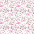 Seamless sketch easter bunnies