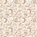 Seamless sketchy coffee cups pattern doodle style and mugs background Royalty Free Stock Photos