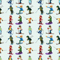 Seamless ski pattern Royalty Free Stock Photography
