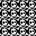 Seamless skulls and crossed bones background with pattern black white silhouette tile Stock Image