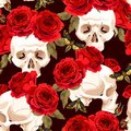 Seamless skulls and roses Royalty Free Stock Photo