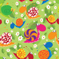Seamless snails with flowers and leaves illustration of a Royalty Free Stock Images