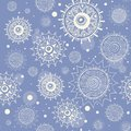 Seamless snow flakes vector pattern Royalty Free Stock Photography