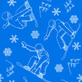 Seamless snowboarder pattern vector illustration of a Royalty Free Stock Photo