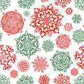 Seamless snowflake pattern in traditional christmas colors hand drawn vector on white background template for christmassy winter Stock Photos