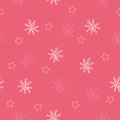 Seamless snowflake and star pattern red background Stock Photo