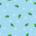 Seamless snowflake and tree pattern blue backgroun Stock Photo