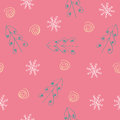 Seamless snowflake and tree pattern red background Stock Images