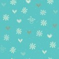 Seamless with snowflakes hearts and angels holiday background Stock Photography