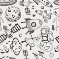 Seamless space pattern cartoon vector illustration Stock Images