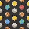 stock image of  Seamless space pattern with different colorful cartoon style planets including earth, mars, jupiter and the sun on black BG