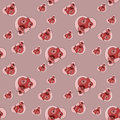 Seamless spirals pattern pink red brown