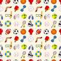 Seamless sport element pattern cartoon vector illustration Stock Photos