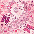 Seamless spring grunge floral pattern pink spotty with vintage butterflies and flowers vector eps Stock Photos