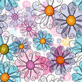 Seamless spring grunge floral pattern spotty with colorful flowers and transparent butterflies vector eps Royalty Free Stock Images