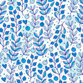 Seamless spring pattern with blue berries Royalty Free Stock Photo