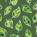 Seamless Spring Pattern with Bright Green Leaves.