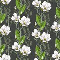 Seamless spring pattern with magnolias and green leaves. Delicate flowers in botanical motifs.