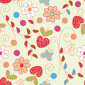 Seamless spring pattern with strawberries Stock Image
