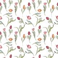 Seamless spring pattern with stylized cute pink flowers, tulips.