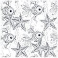 Seamless starfish and fish ornamental monochrome pattern