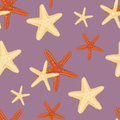 Seamless starfish pattern wiith three different orange and beige species scattered randomly over a purple background Royalty Free Stock Images