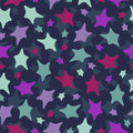 Seamless stars pattern colorful doodles on dark b vector background Royalty Free Stock Images