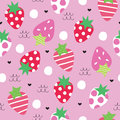 Seamless strawberry pattern vector illustration Royalty Free Stock Photo