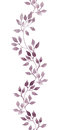 Seamless strip border - hand painted watercolor leaves. Repeated pattern