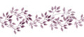 Seamless stripe banner - hand painted watercolour leaves. Repeated pattern.