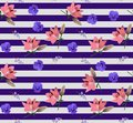 Seamless striped floral pattern with little bell flowers, large pink lilies and blue violets in vector. Print for fabric