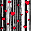 Seamless striped pattern Valentine`s Day. Vertical black lines