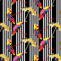 Seamless stripped black and white pattern with colorful patchwork umbrellas