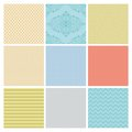 Seamless subtle geometric background set colorful minimalistic patterns Royalty Free Stock Images