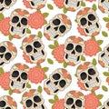 Seamless with sugar skulls. Vector version. Royalty Free Stock Photo