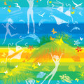 Seamless summer beach pattern with people palms dolphins and butterflies on striped background Stock Photography