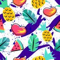Seamless summer pattern with bright orange pineapple and watermelon and tropical element on brith background For teenagers Royalty Free Stock Photo