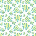 Seamless summer pattern with cute stripes fishes. Vector sea illustration for children, holiday, background, print, textile,