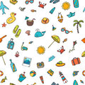 Seamless summer pattern with hand drawn beach icons. Vector beac Royalty Free Stock Photo