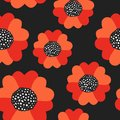 Seamless summer pattern with red poppy flowers