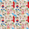 Seamless summer people pattern Stock Image