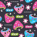 Seamless summer strawberry pattern vector illustration Royalty Free Stock Photo