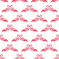 Seamless summer tropical pattern with flamingo bird Royalty Free Stock Photo