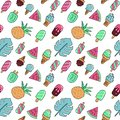 Seamless summer vacation icons pattern with ice cream, watermelon, pineapple and palm leaves. Vector hand drawn color outline