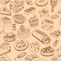 Seamless sweet pastries vector illustration wallpaper Royalty Free Stock Images