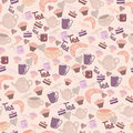 Seamless sweet pattern with tea & coffee Stock Photos